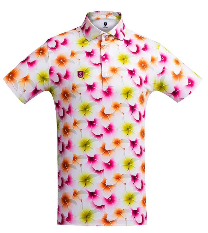 Golf Shirt –  Yellow Frangipani