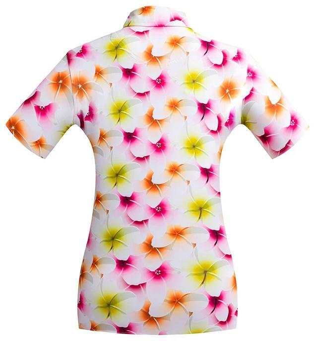 Golf Shirt - Orange Frangipani