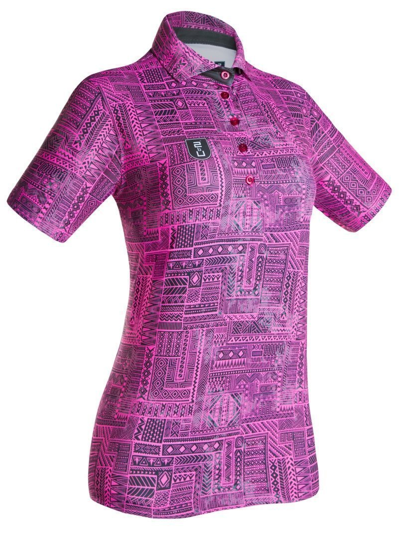 Golf Shirt – Fluoro Pink Indigenous
