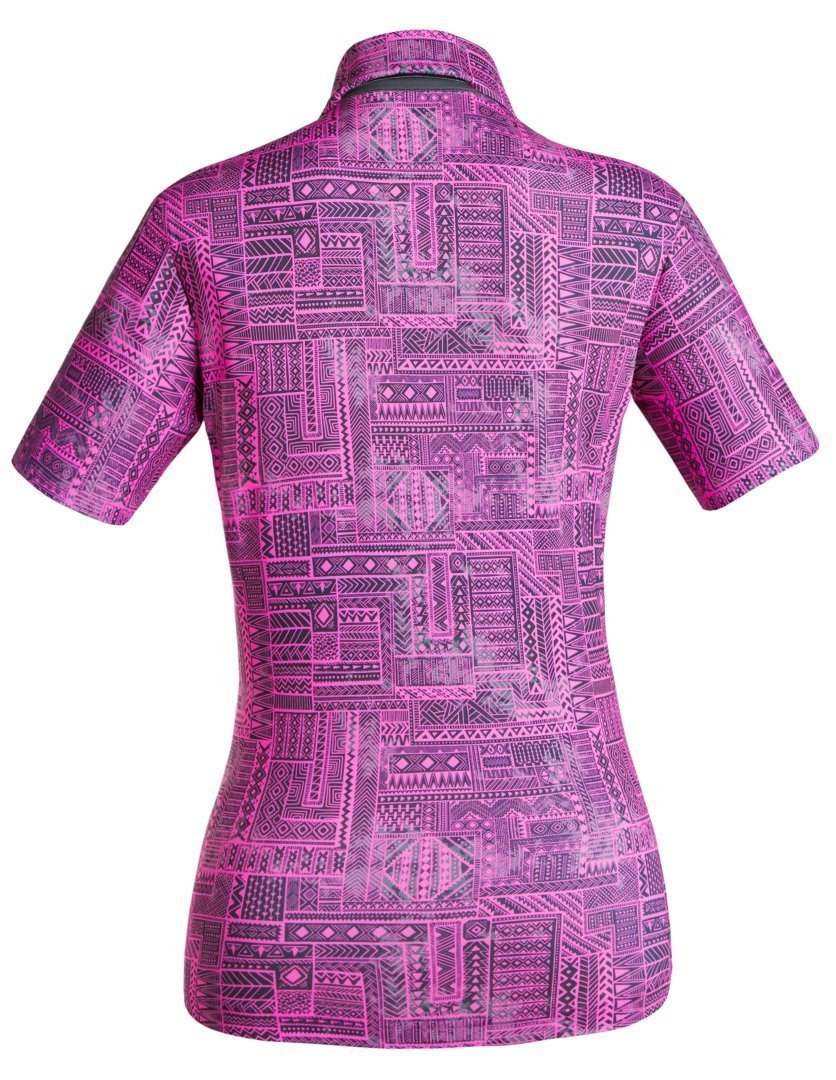 Golf Shirt - Fluoro Pink Indigenous