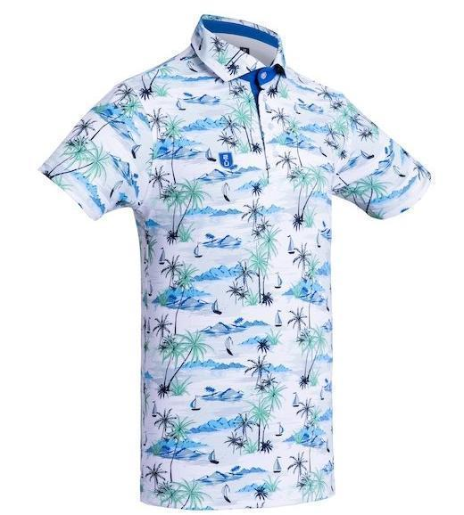 Golf Shirt - Light Blue Palms