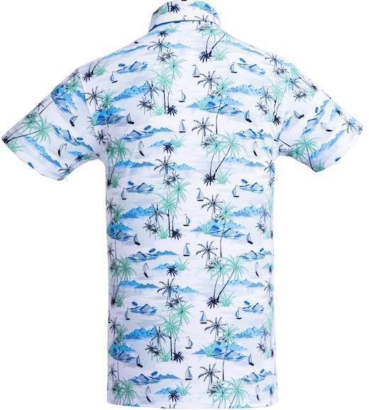 Golf Shirt - Light Blue Palms