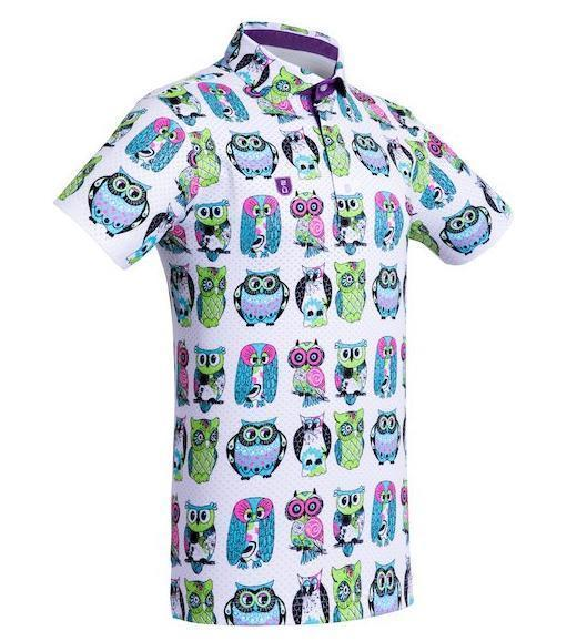 Golf Shirt – Neon Green Owls