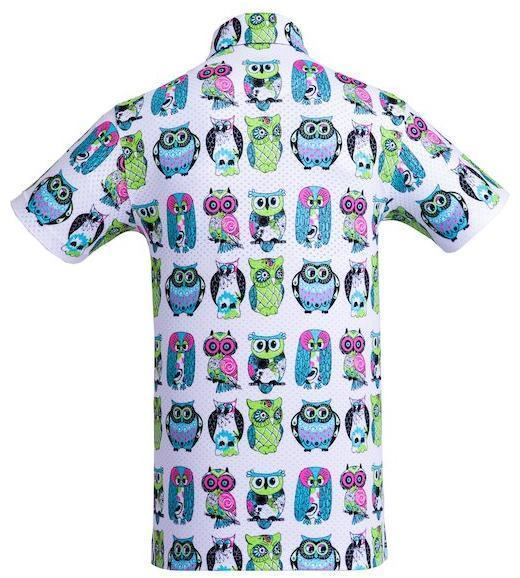 Golf Shirt - Neon Green Owls