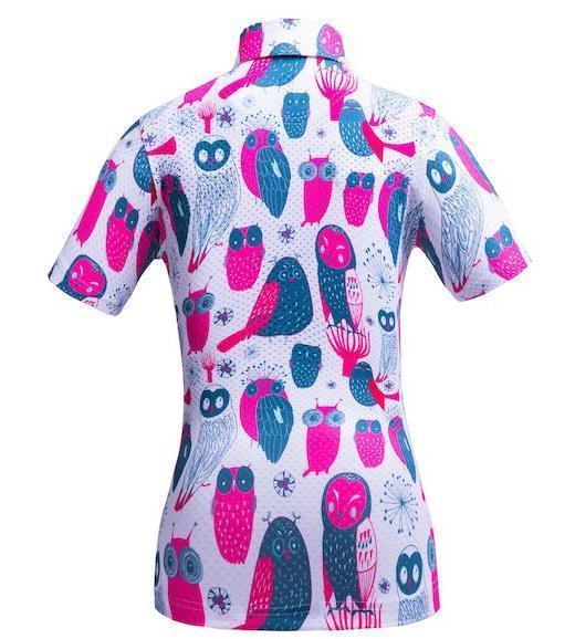 Golf Shirt - Neon Pink Owls