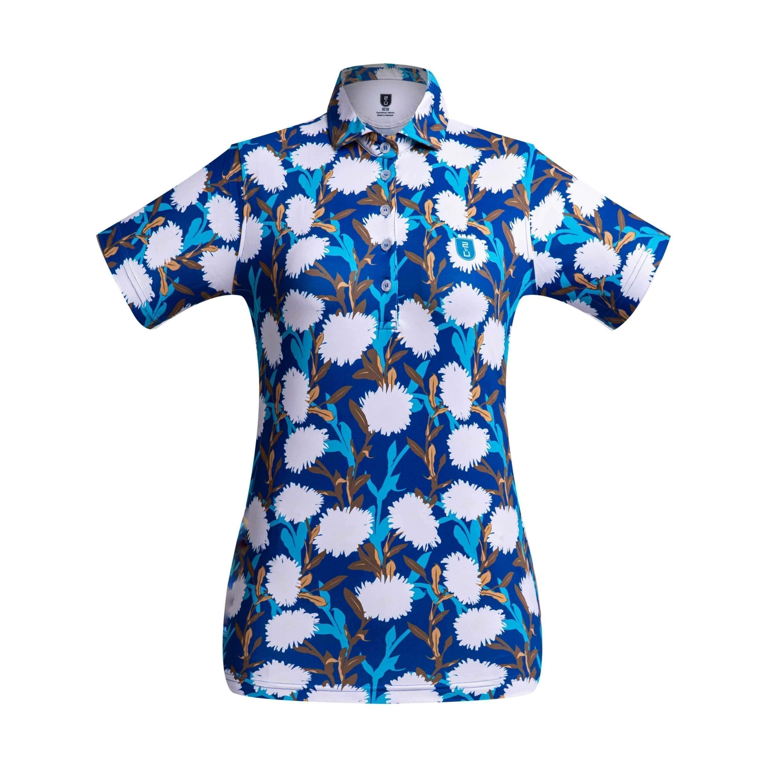 Golf shirt – Bright Blue Flower